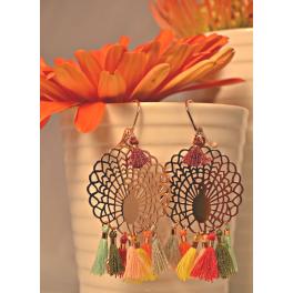 Boucles d'oreilles paons multicolores